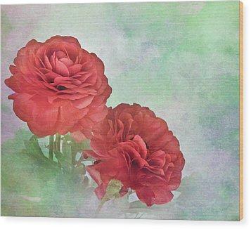 Red Ranunculus Wood Print by David and Carol Kelly