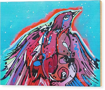 Wood Print featuring the painting Red Raven by Nicole Gaitan