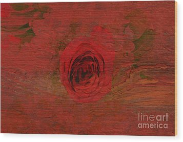 Red Red Rose Wood Print by Kathleen Struckle