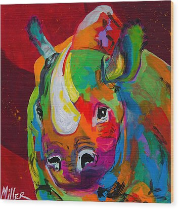 Red Rhino Wood Print by Tracy Miller