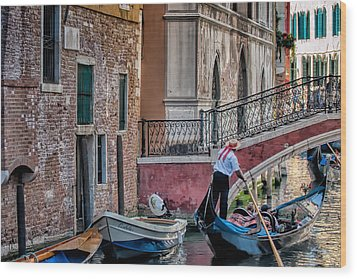 Red Ribbon Gondolier Wood Print by Joan Herwig