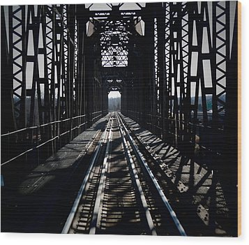 Wood Print featuring the photograph Red River Rail Road Crossing by Diana Mary Sharpton