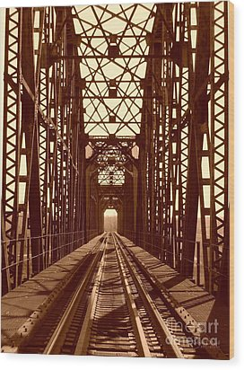 Wood Print featuring the photograph Red River Train Bridge #1 by Robert ONeil
