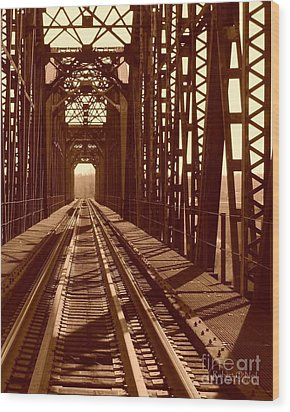 Wood Print featuring the photograph Red River Train Bridge #2 by Robert ONeil