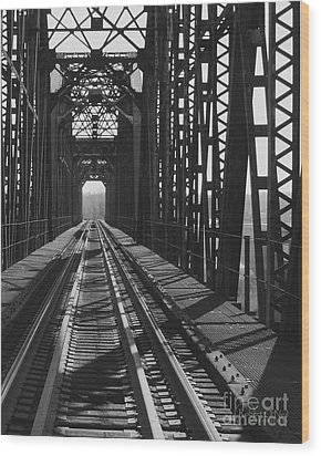 Wood Print featuring the photograph Red River Train Bridge #3 by Robert ONeil