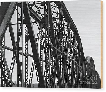 Wood Print featuring the photograph Red River Train Bridge #4 by Robert ONeil