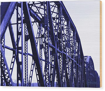Wood Print featuring the photograph Red River Train Bridge #5 by Robert ONeil