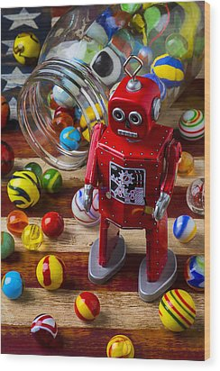 Red Robot And Marbles Wood Print by Garry Gay