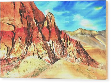 Red Rock #1 Wood Print by Betty M M   Wong