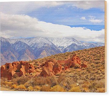 Red Rock And Desert Wood Print by Marilyn Diaz
