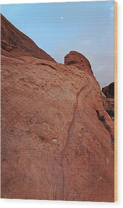 Wood Print featuring the photograph Red Rock And The Moon by Francesco Emanuele Carucci