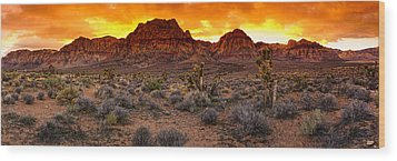 Red Rock Canyon Las Vegas Nevada Fenced Wonder Wood Print by Silvio Ligutti