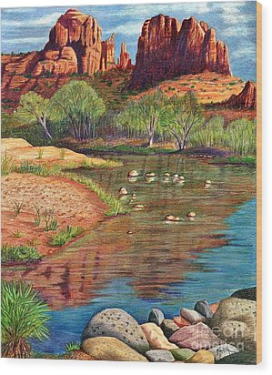 Red Rock Crossing-sedona Wood Print by Marilyn Smith