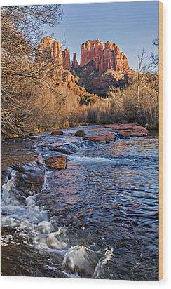 Red Rock Crossing Winter Wood Print by Mary Jo Allen
