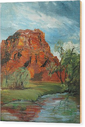 Red Rock Wood Print by Jolyn Kuhn