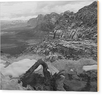 Wood Print featuring the photograph Red Rock Winter by Alan Socolik