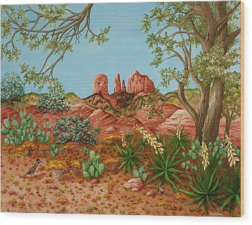 Wood Print featuring the painting Landscapes Desert Red Rocks Of Sedona Arizona by Katherine Young-Beck