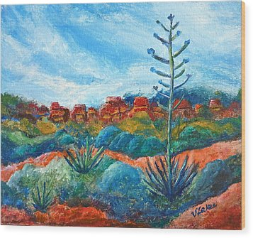 Red Rocks Wood Print by Victoria Lakes