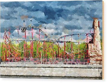 Red Roller Coaster Painting Wood Print by Magomed Magomedagaev