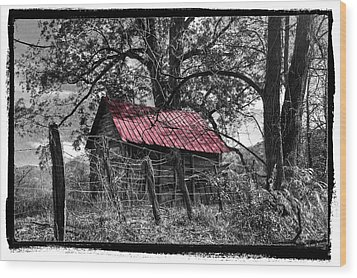 Red Roof Wood Print by Debra and Dave Vanderlaan