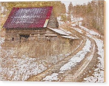 Red Roof In The Snow  Wood Print by Debra and Dave Vanderlaan