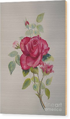 Wood Print featuring the painting Red Rose by Beatrice Cloake