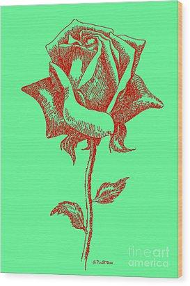 Red Rose Drawings 8 Wood Print by Gordon Punt