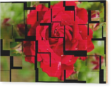 Red Rose Puzzle Wood Print by Julia Fine Art And Photography