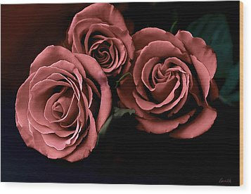Red Roses Wood Print by Bonnie Willis