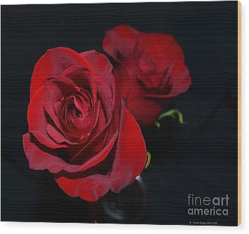 Red Roses For A Blue Lady Wood Print by Luther Fine Art