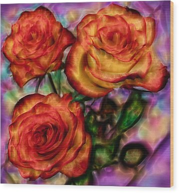 Wood Print featuring the digital art Red Roses In Water - Silk Edition by Lilia D