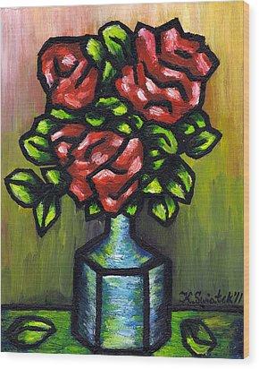 Red Roses Wood Print by Kamil Swiatek