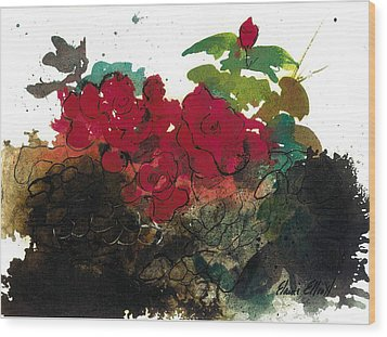 Wood Print featuring the painting Red Roses On The Rocks by Elaine Elliott