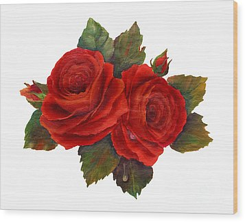 Red Roses Wood Print by Pattie Calfy