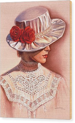 Wood Print featuring the painting Red Roses Satin Hat by Sue Halstenberg