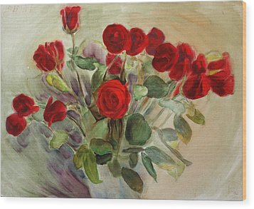 Red Roses Wood Print by Tanya Byrd