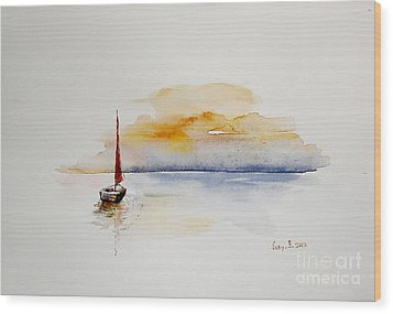 Red Sail Wood Print by Sibby