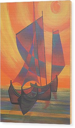 Wood Print featuring the painting Red Sails In The Sunset by Tracey Harrington-Simpson