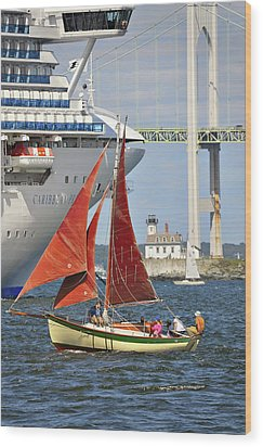 Wood Print featuring the photograph Red Sails Newport Ri by Marianne Campolongo