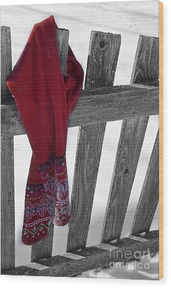 Red Scarf Hanging On Fence Wood Print by Birgit Tyrrell