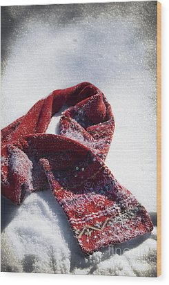 Red Scarf In Snow Wood Print by Birgit Tyrrell