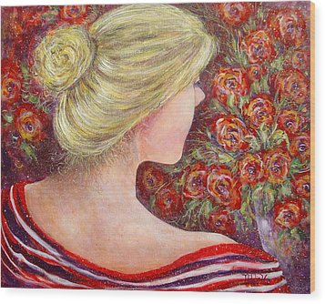 Wood Print featuring the painting Red Scented Roses by Natalie Holland