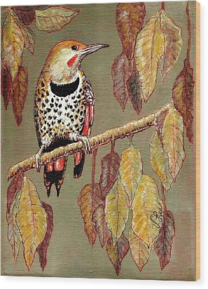 Wood Print featuring the painting Red Shafted Flicker by VLee Watson
