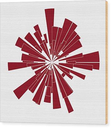 Red Shape Wood Print by Frank Tschakert