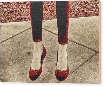 Red Shoes Wood Print by Kristina Deane