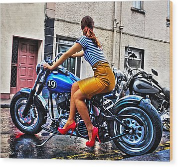 Red Shoes On A Harley Wood Print by Tony Reddington