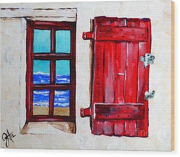 Red Shutter Ocean Wood Print by Jackie Carpenter