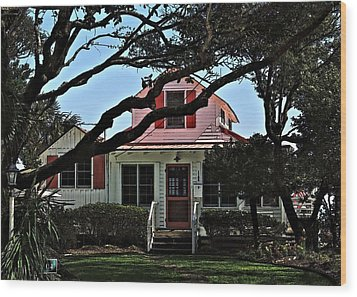Wood Print featuring the photograph Red Shutters Cottage by Laura Ragland