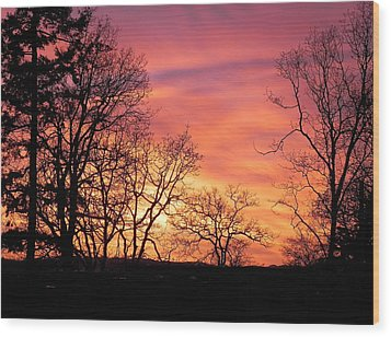 Wood Print featuring the photograph Red Sky At Night Sailor's Delight by Cheryl Hoyle