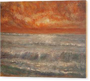 Red Sky Marine Wood Print